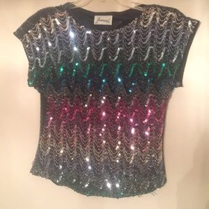 Multi-color sequined top